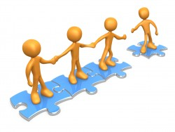 Royalty-free 3d computer generated clipart picture image of a team of three orange people holding hands and standing on blue puzzle pieces, with one man reaching out to connect another to their group, symbolizing teamwork, expansion, membership, seo linking.